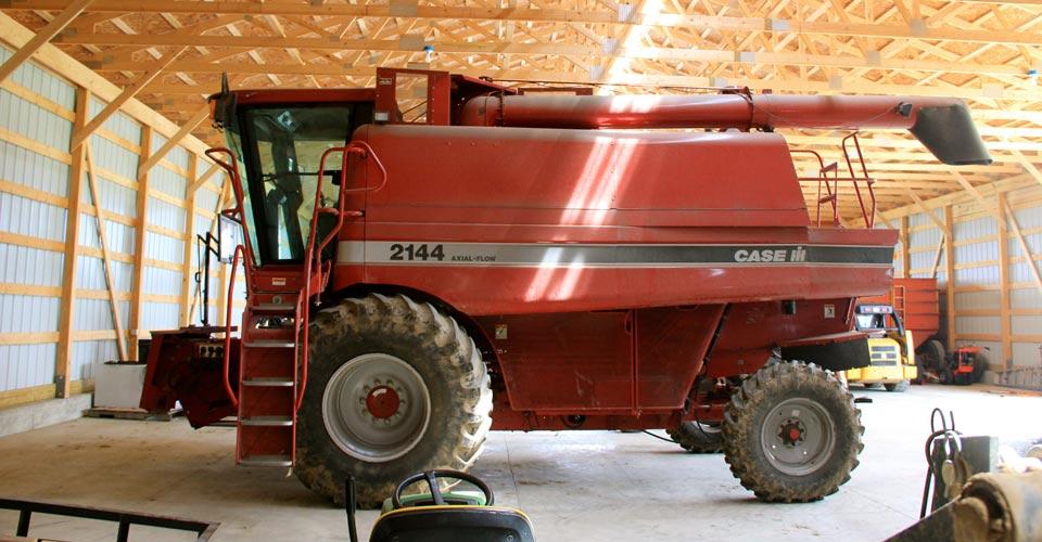 Farm equipment sitting in storage