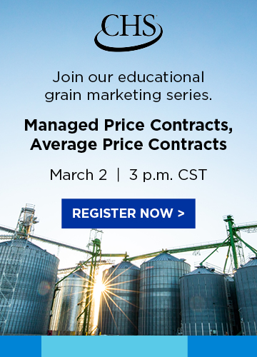 Register now for our educational grain marketing series: Managed and Average Price Contracts. March 2 at 3 pm Central Standard Time.